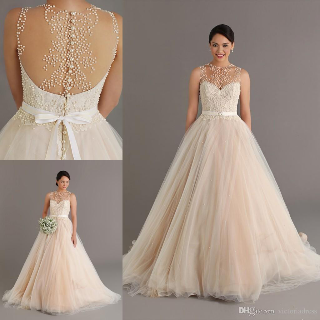 lace champagne wedding dresses photo - 1