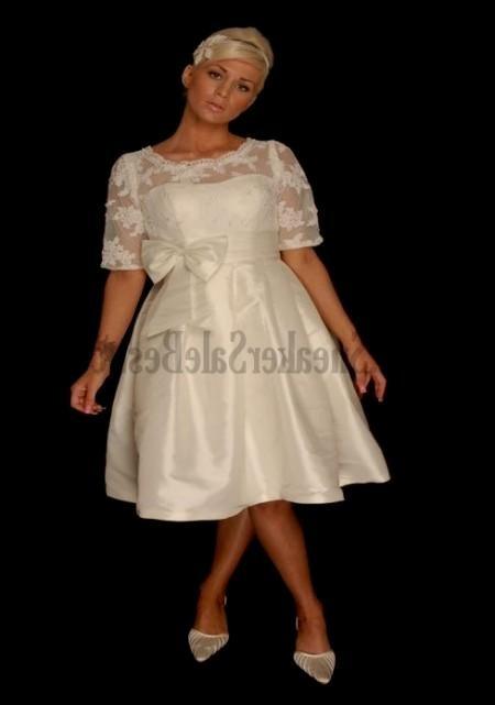 lace knee length wedding dresses photo - 1