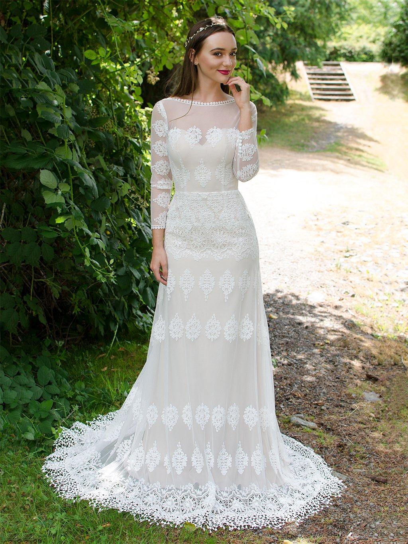 lace long sleeve wedding dresses photo - 1