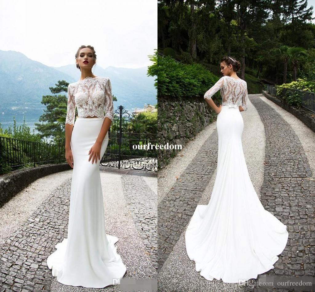 lace neck wedding dresses photo - 1