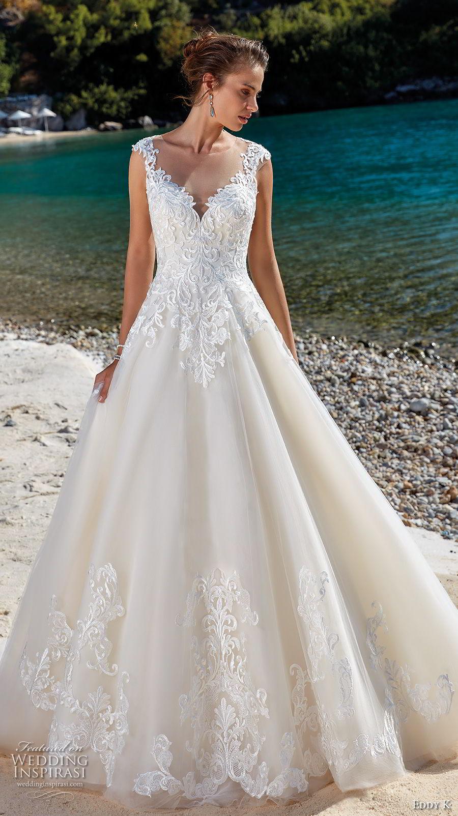 lace neckline wedding dresses photo - 1