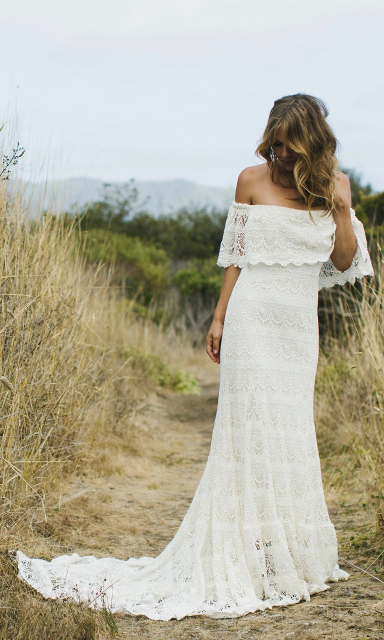 lace shoulder wedding dresses photo - 1