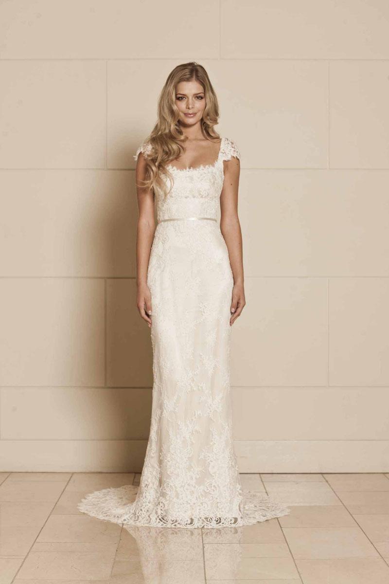 lace wedding dresses cap sleeve photo - 1