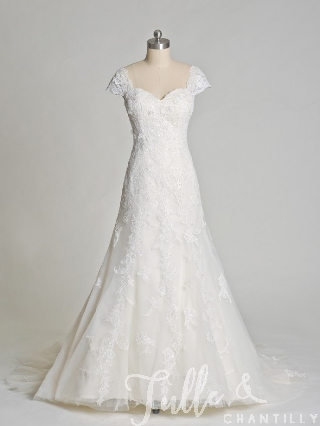 lace wedding dresses cap sleeves photo - 1