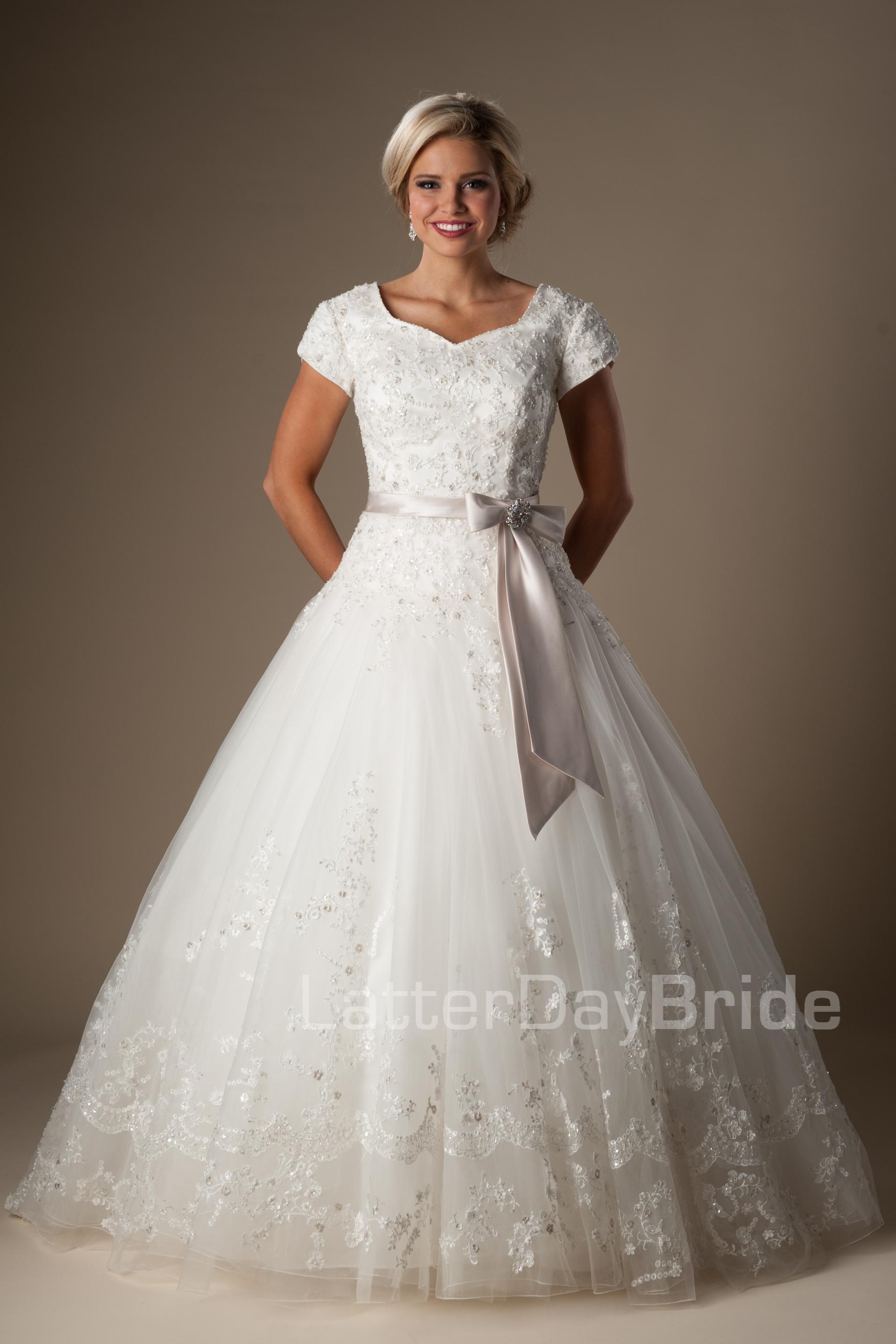 lds modest wedding dresses photo - 1