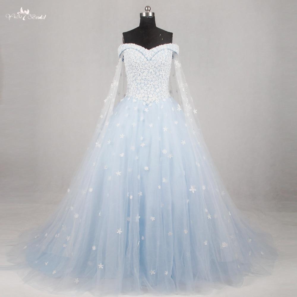 light blue and white wedding dresses photo - 1