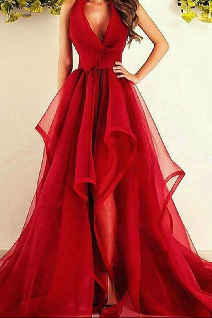 long red elegant dresses photo - 1