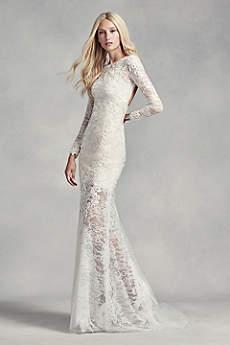 long sleeve a line wedding dresses photo - 1