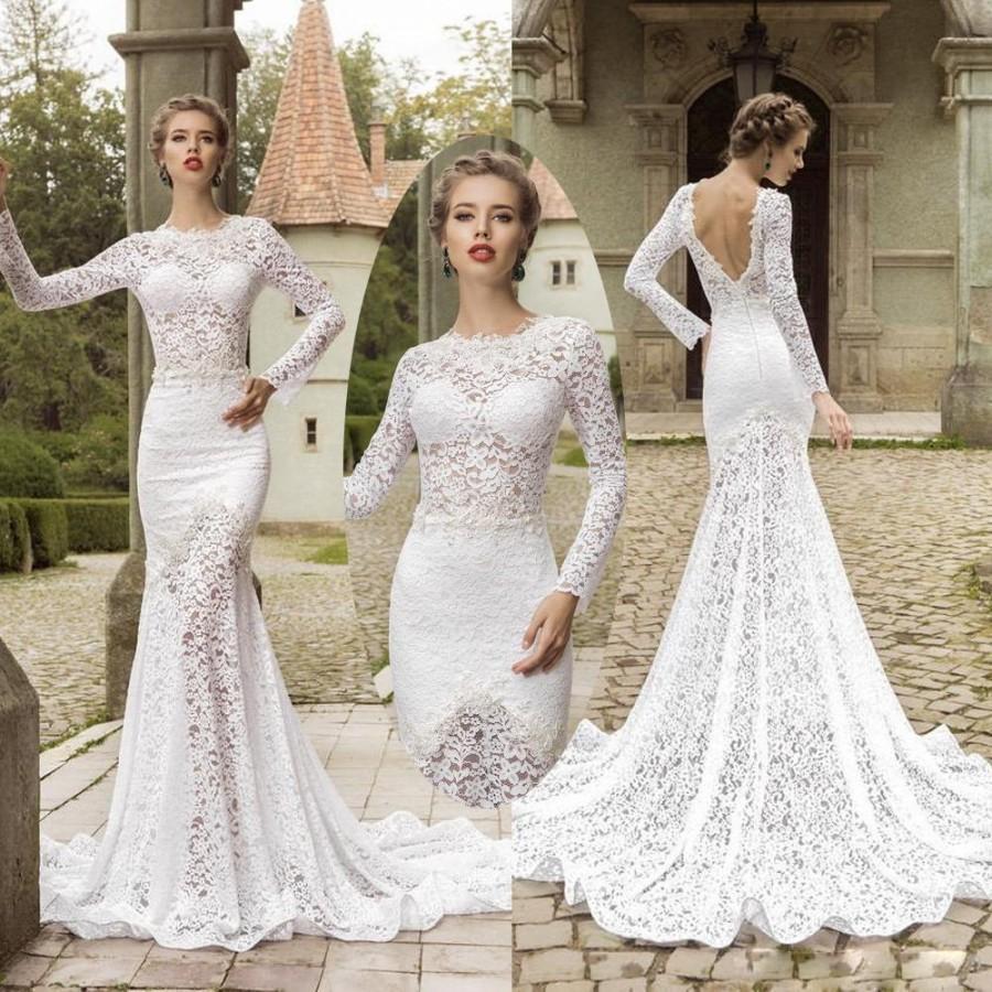 long sleeve backless lace wedding dresses photo - 1