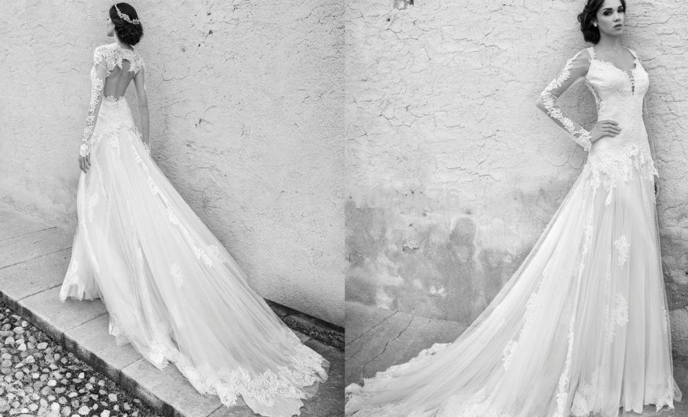 long sleeve backless wedding dresses photo - 1