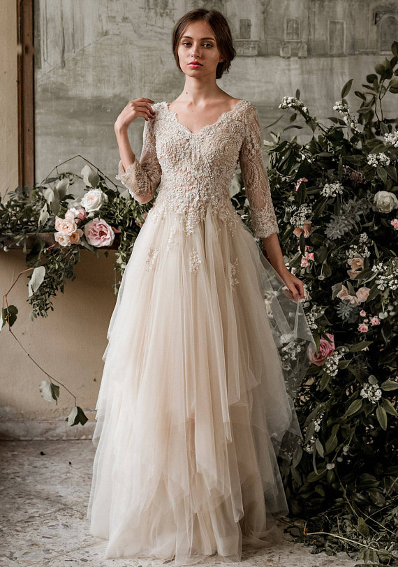 long sleeve beach wedding dresses photo - 1