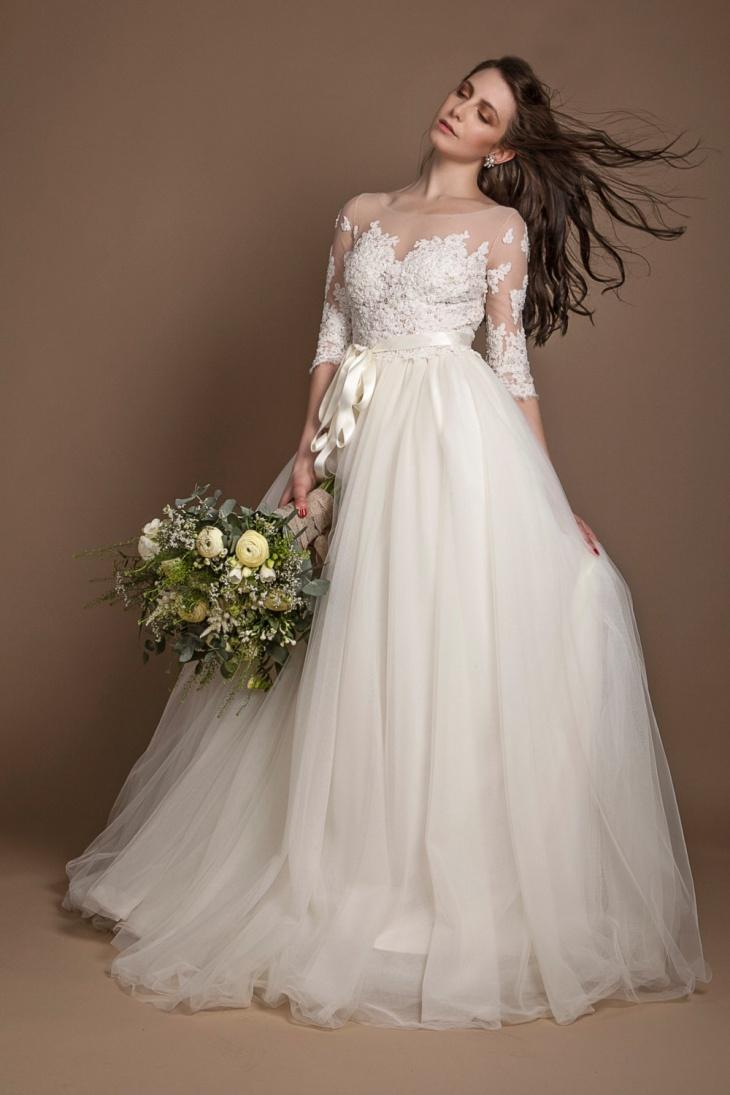 long sleeve beaded wedding dresses photo - 1