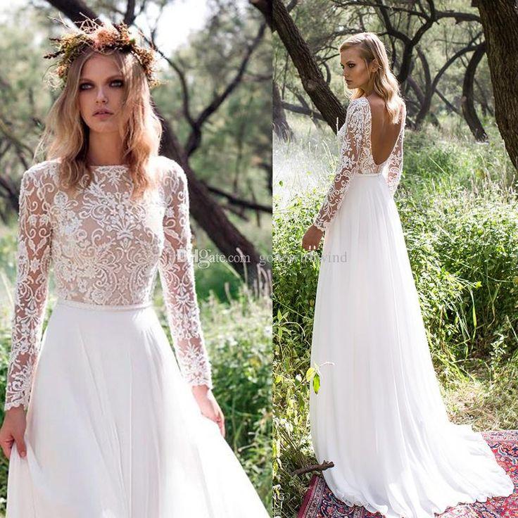 long sleeve country wedding dresses photo - 1
