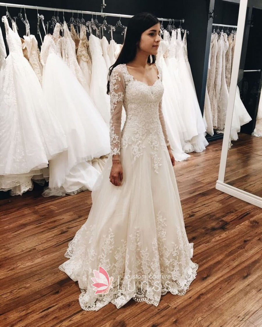 long sleeve fall wedding dresses photo - 1
