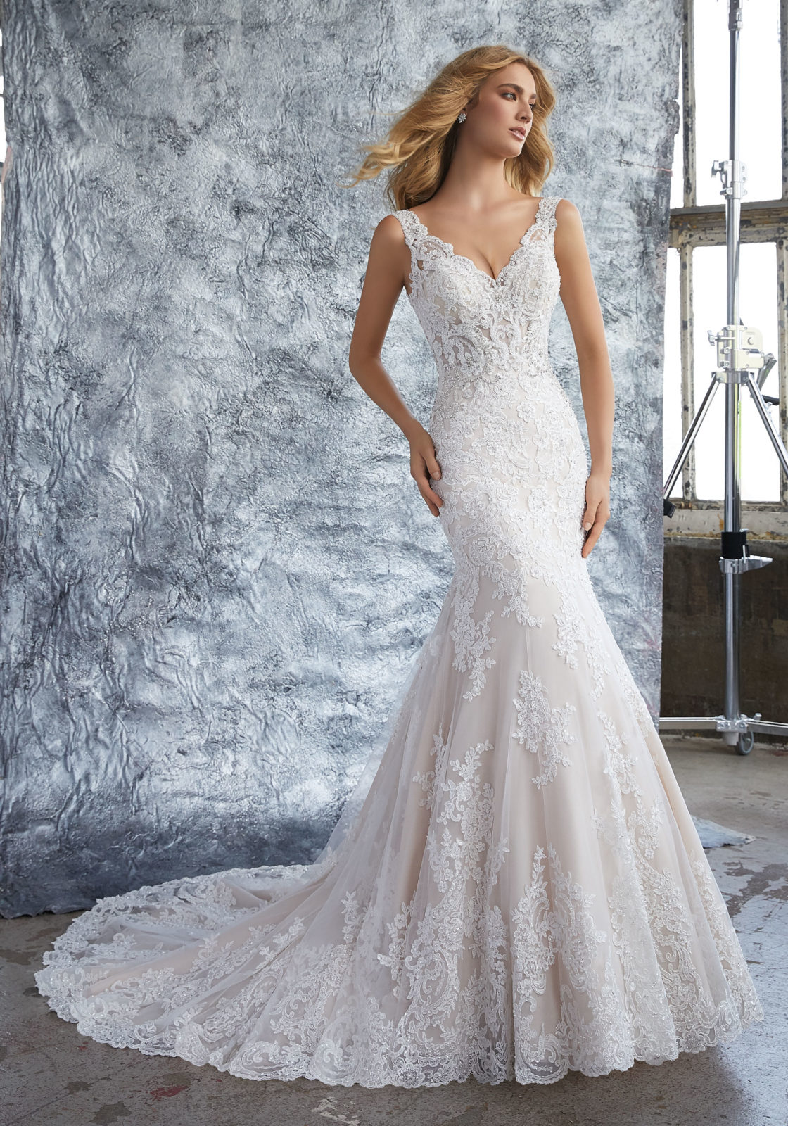 long sleeve fit and flare wedding dresses photo - 1