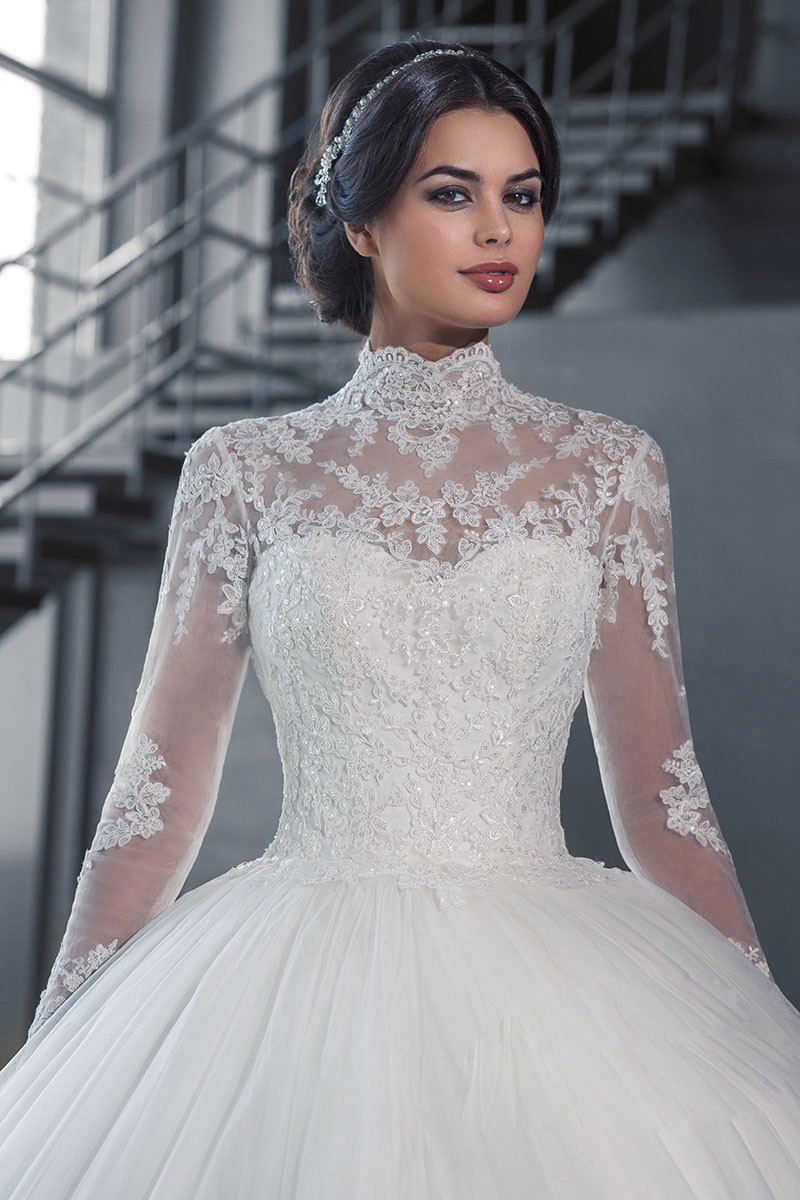 long sleeve high neck wedding dresses photo - 1