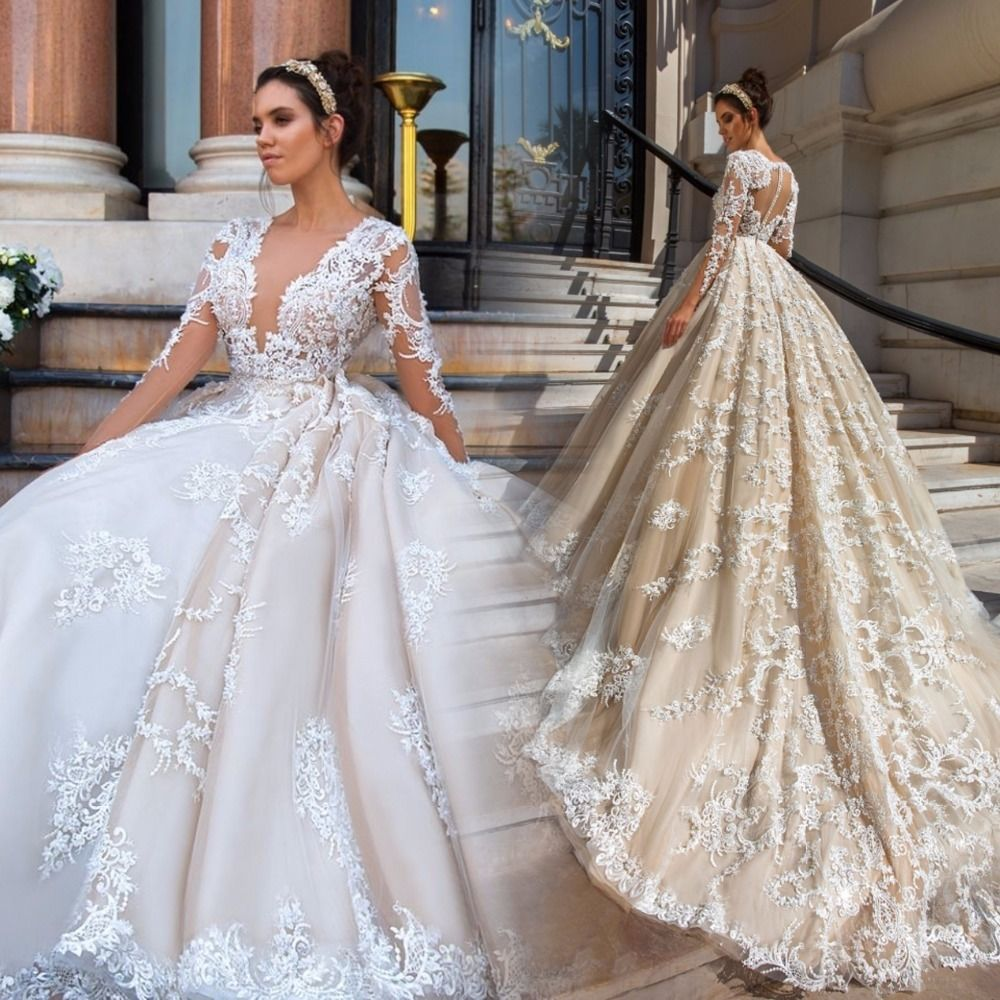 long sleeve lace ball gown wedding dresses photo - 1