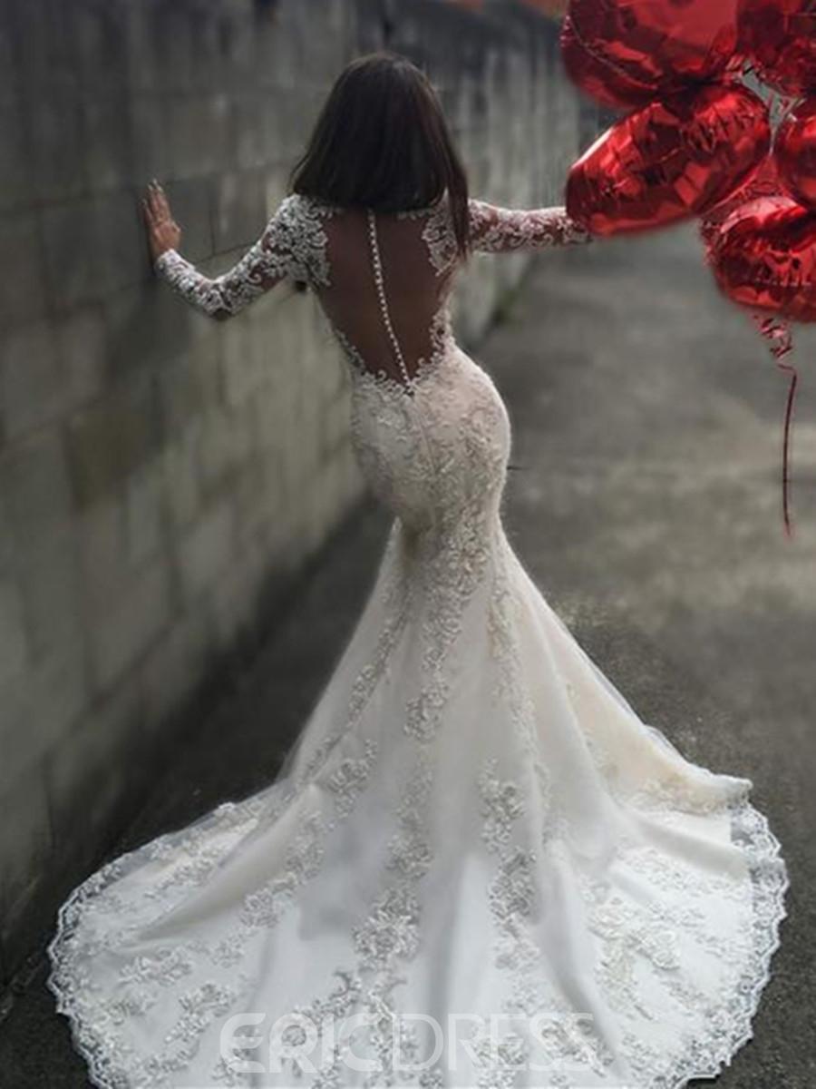 long sleeve lace open back wedding dresses photo - 1
