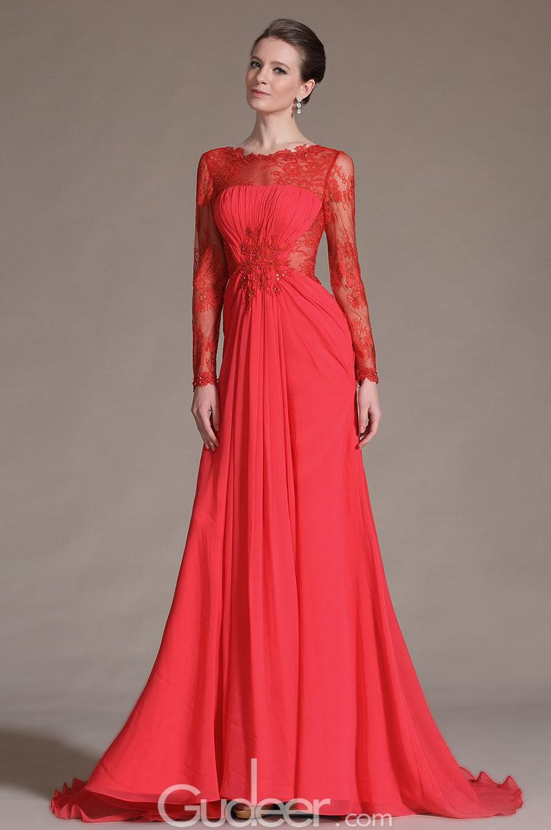 long sleeve long evening dresses photo - 1