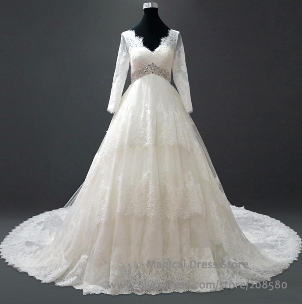 long sleeve maternity wedding dresses photo - 1