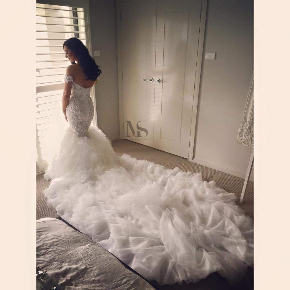 long sleeve off shoulder wedding dresses photo - 1