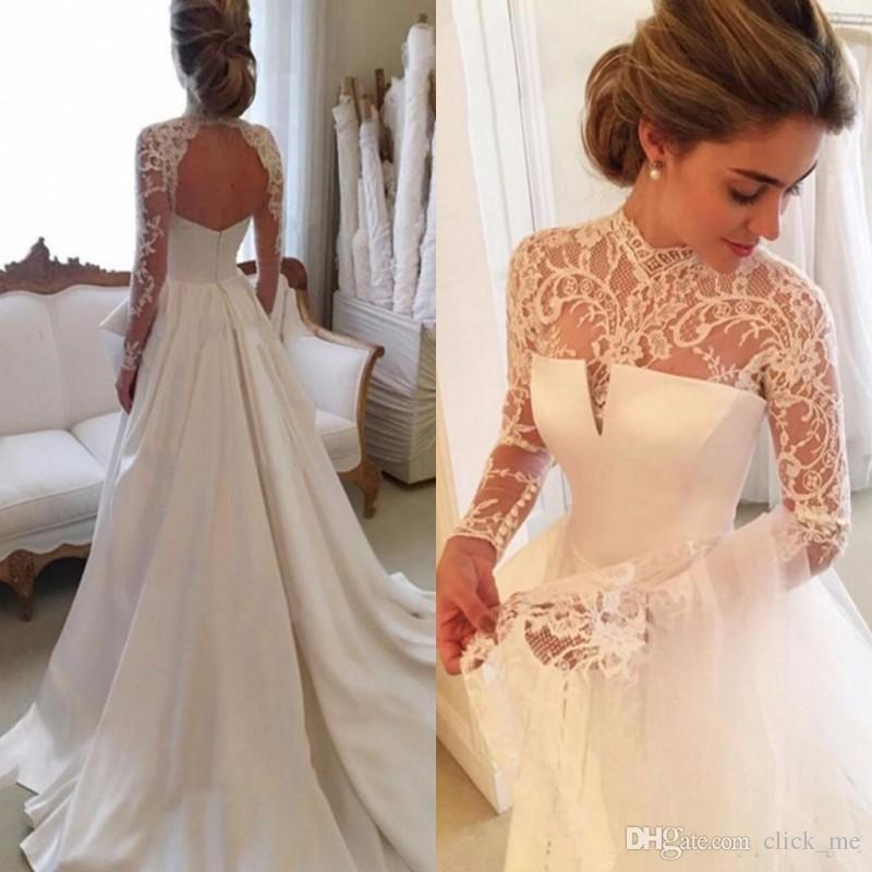 long sleeve satin wedding dresses photo - 1