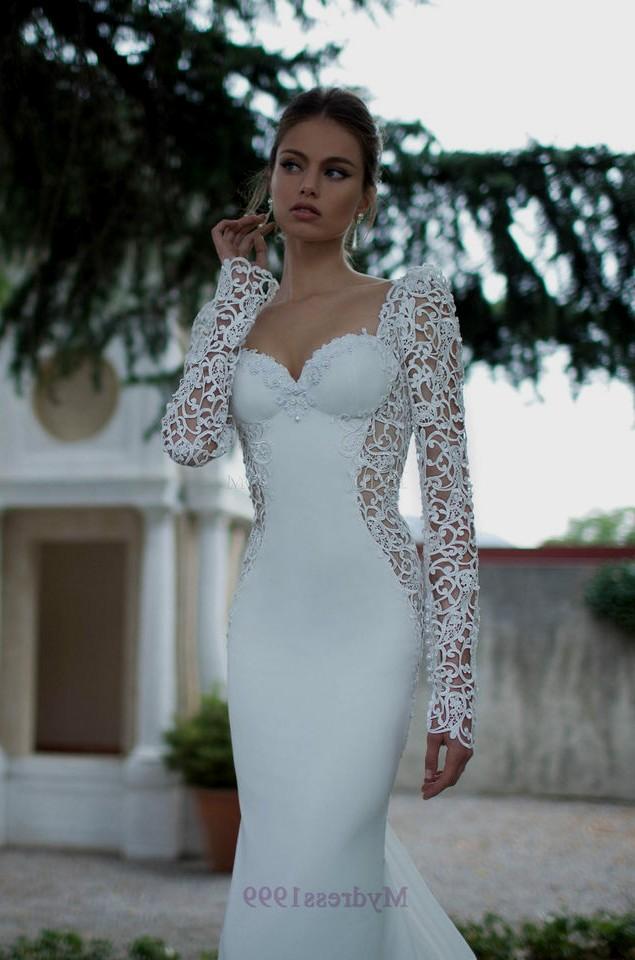 long sleeve tight wedding dresses photo - 1
