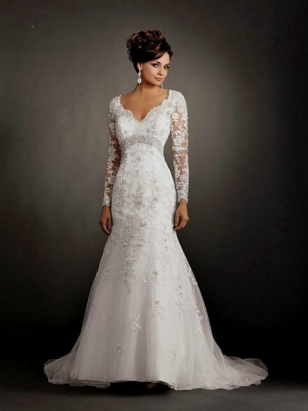 long sleeve wedding dresses mermaid photo - 1