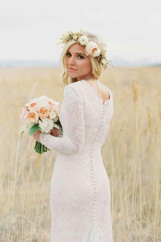 long sleeved wedding dresses photo - 1