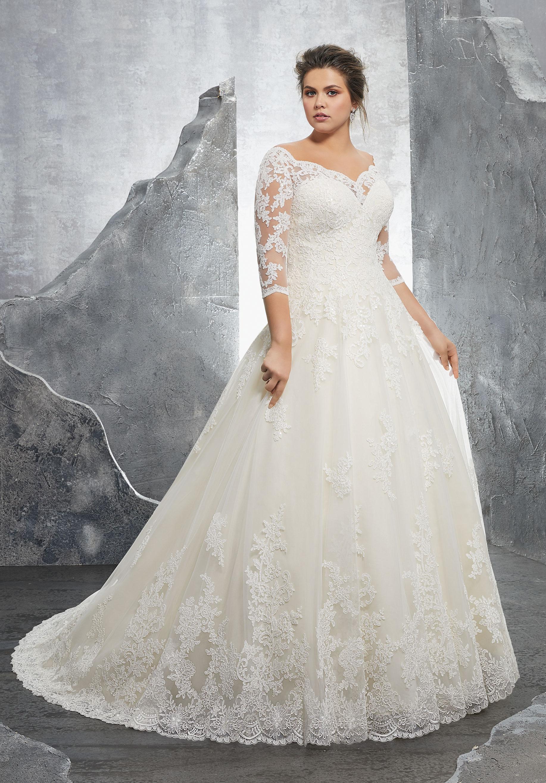 long sleeved wedding dresses plus size photo - 1