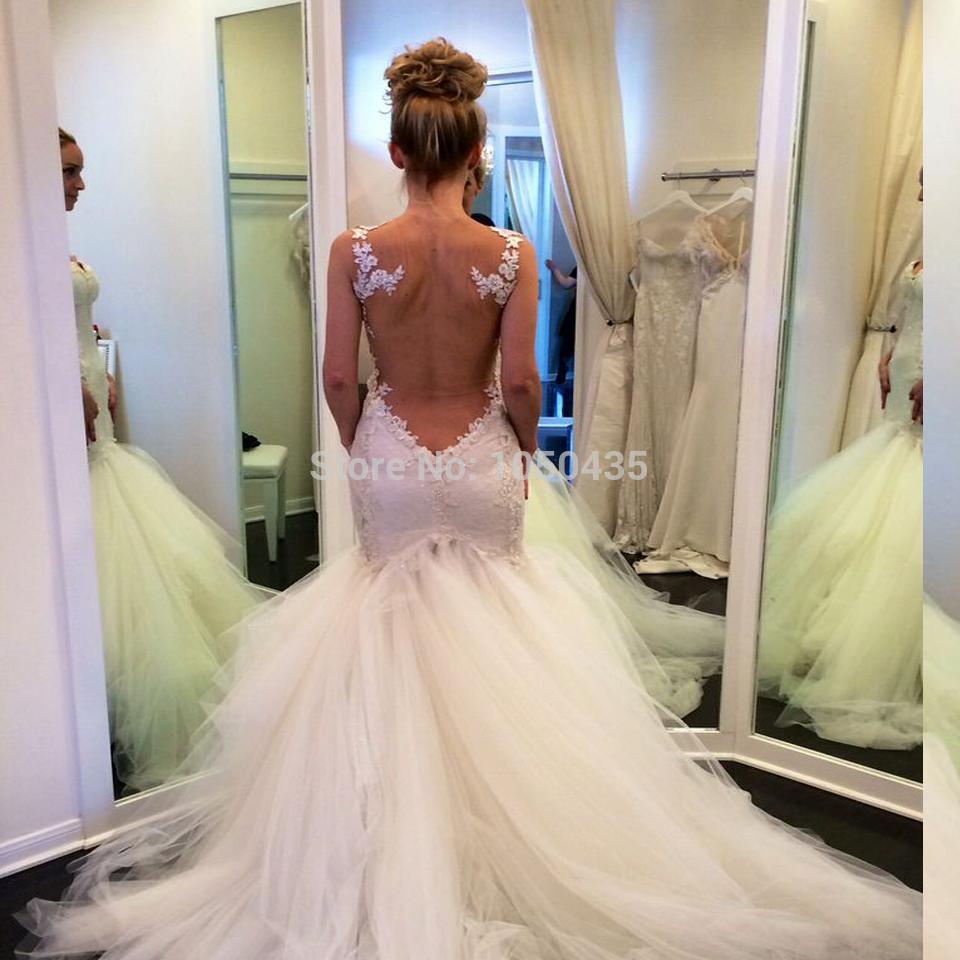 low cut back wedding dresses photo - 1
