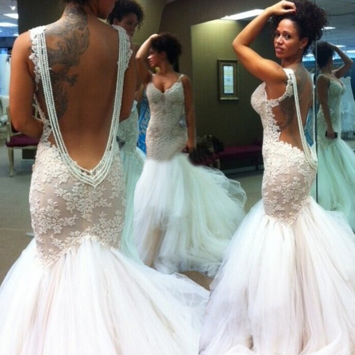 mermaid backless wedding dresses photo - 1