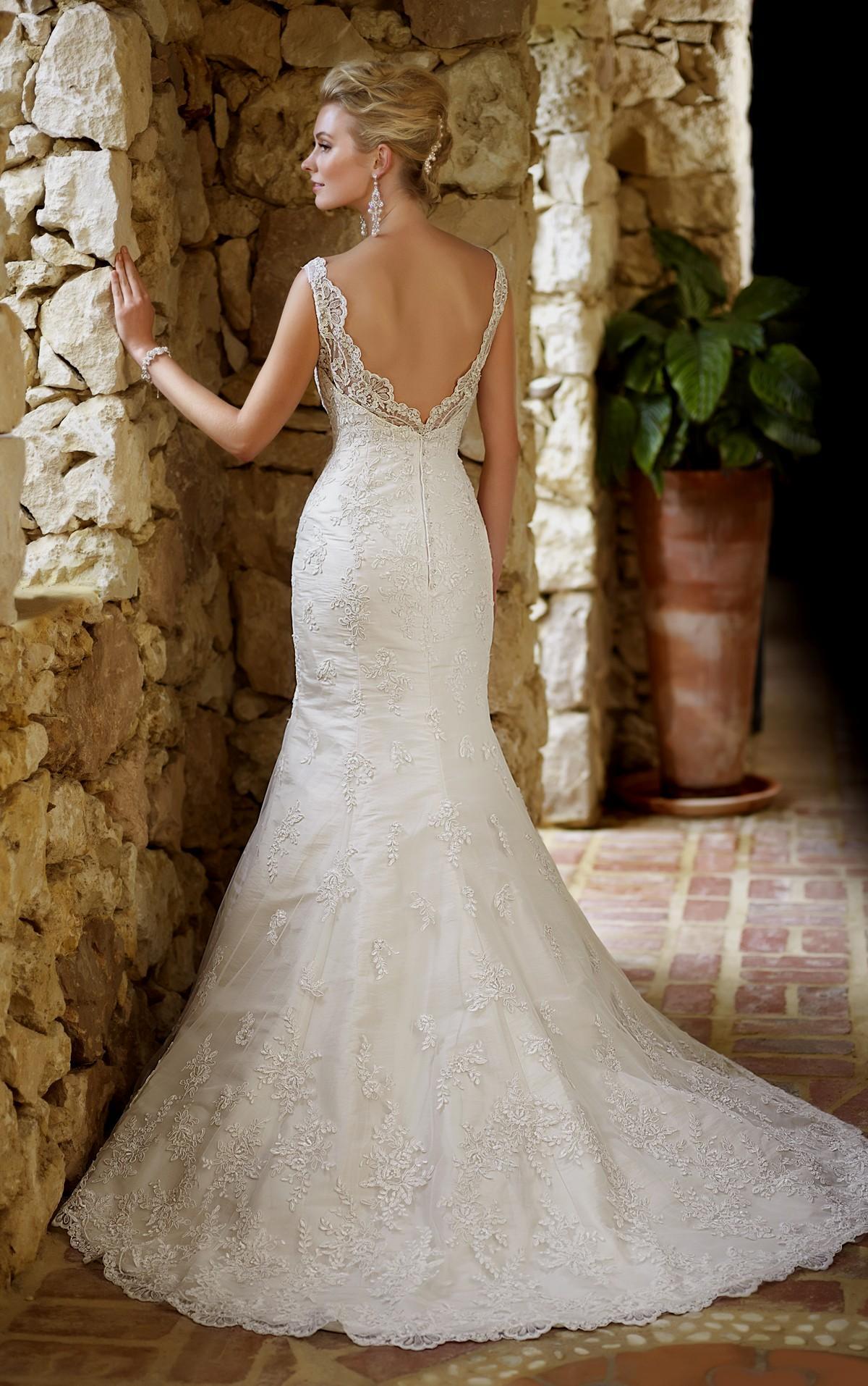 mermaid open back wedding dresses photo - 1