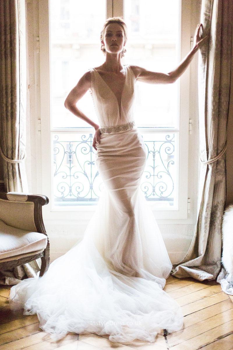 mermaid style lace wedding dresses photo - 1