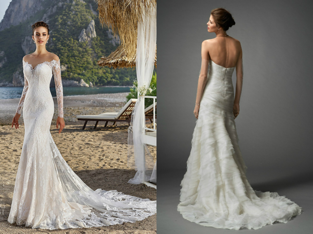 mermaid style wedding dresses with long train photo - 1
