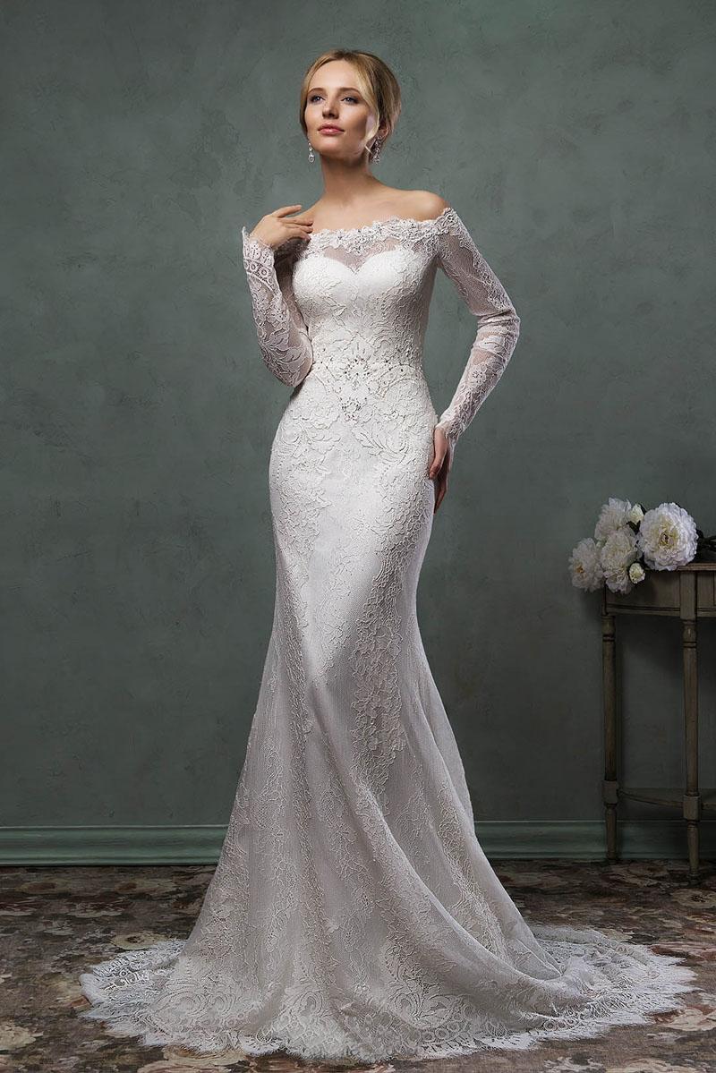 mermaid wedding dresses long sleeves photo - 1