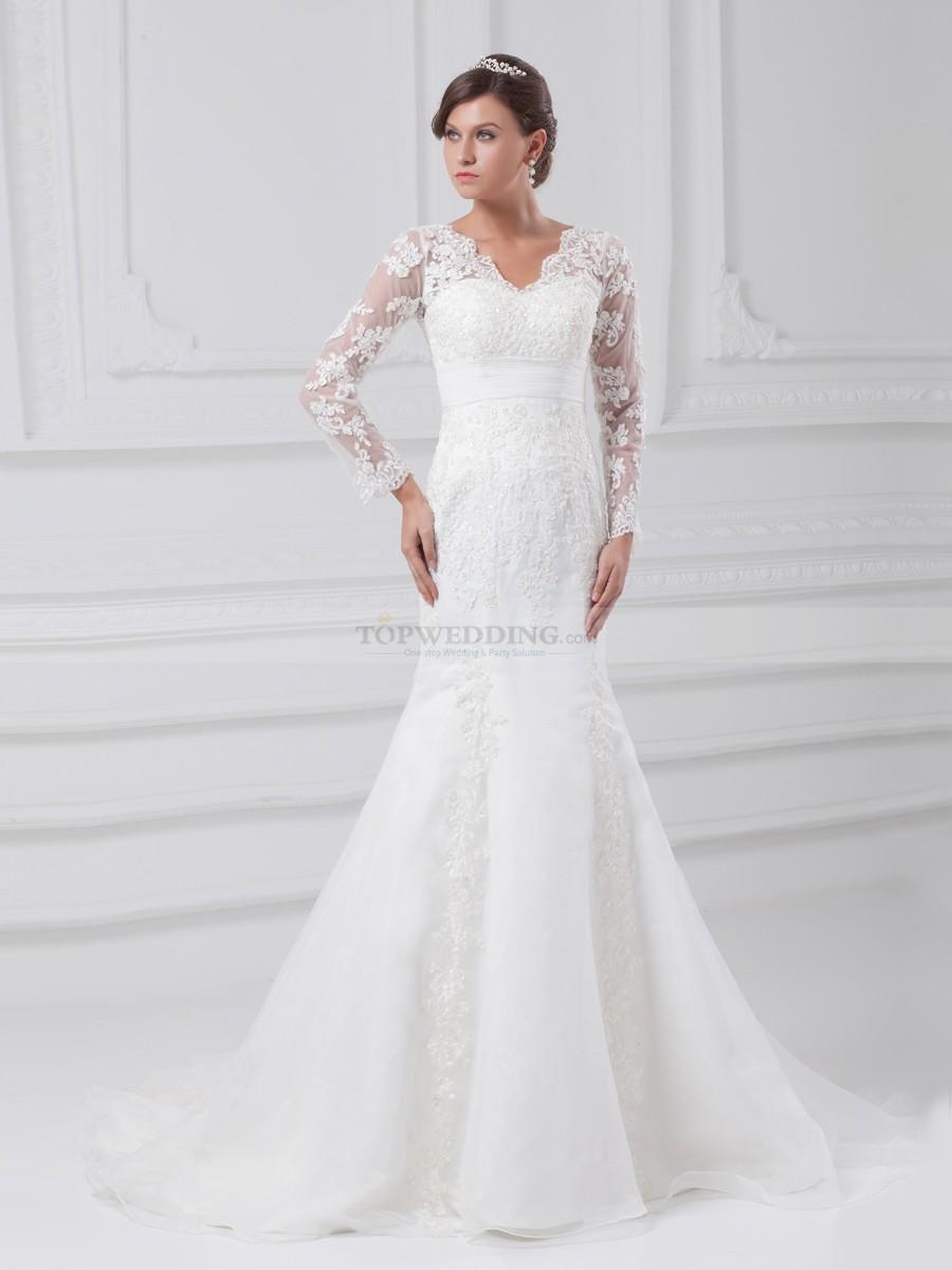 mermaid wedding dresses with sleeves photo - 1
