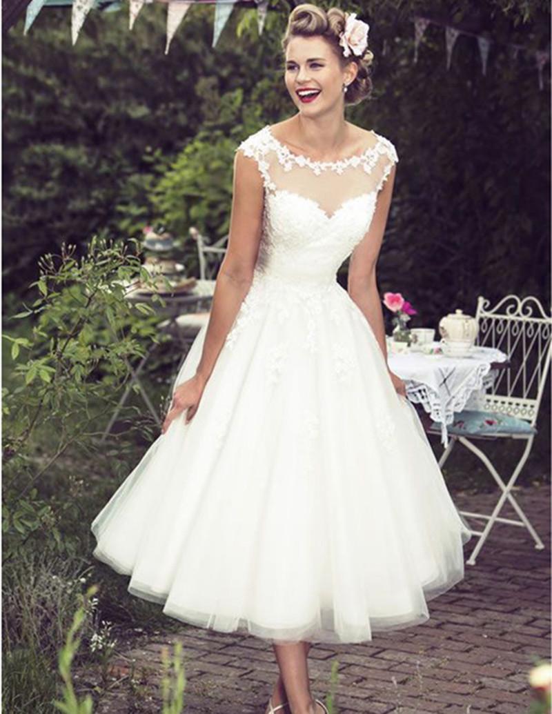 midi length wedding dresses photo - 1