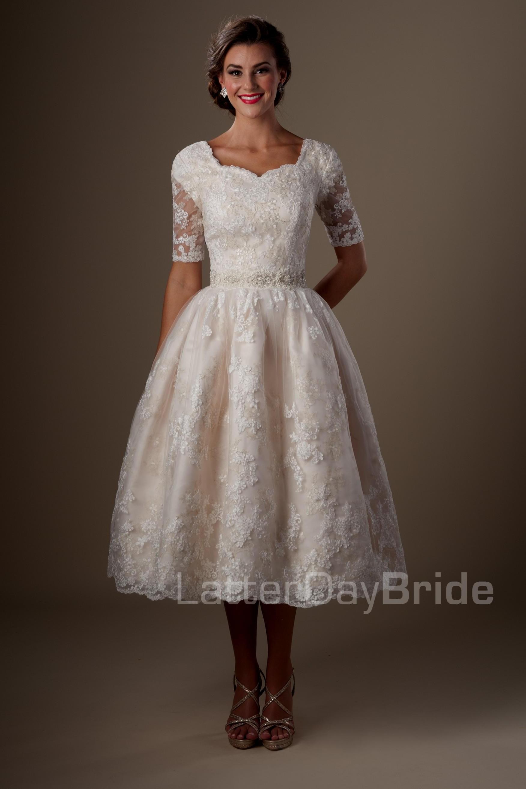 ff33e9446fc4 Modest Tea Length Bridesmaid Dresses   Saddha