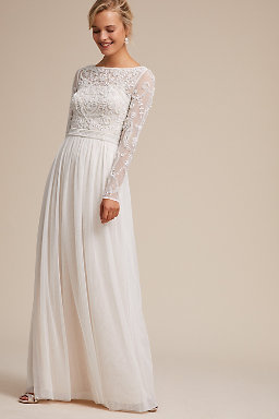 off the shoulder wedding dresses with sleeves photo - 1