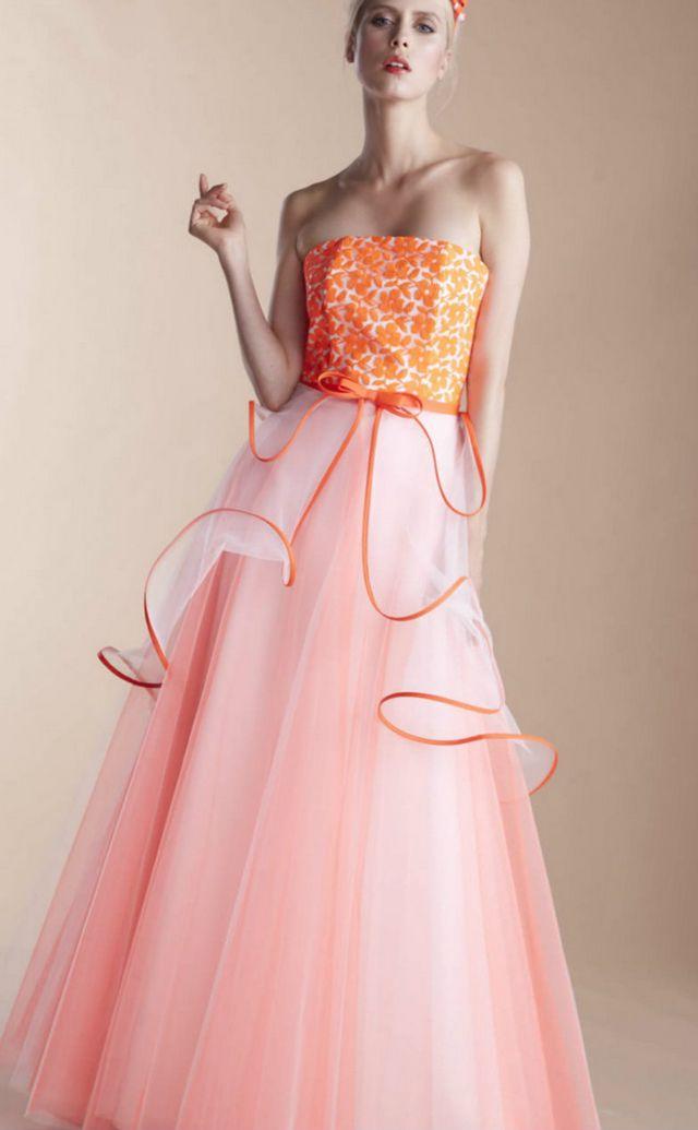 orange and white wedding dresses photo - 1