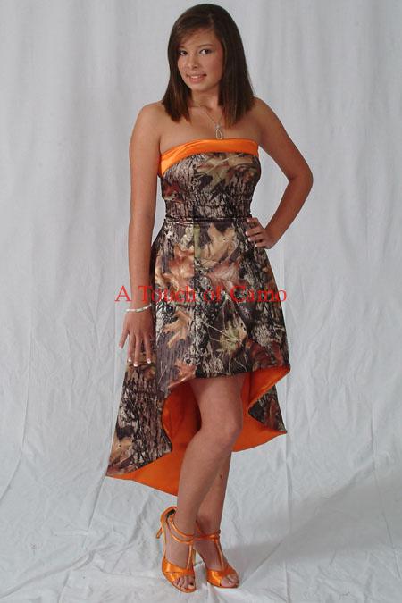 orange camouflage wedding dresses photo - 1