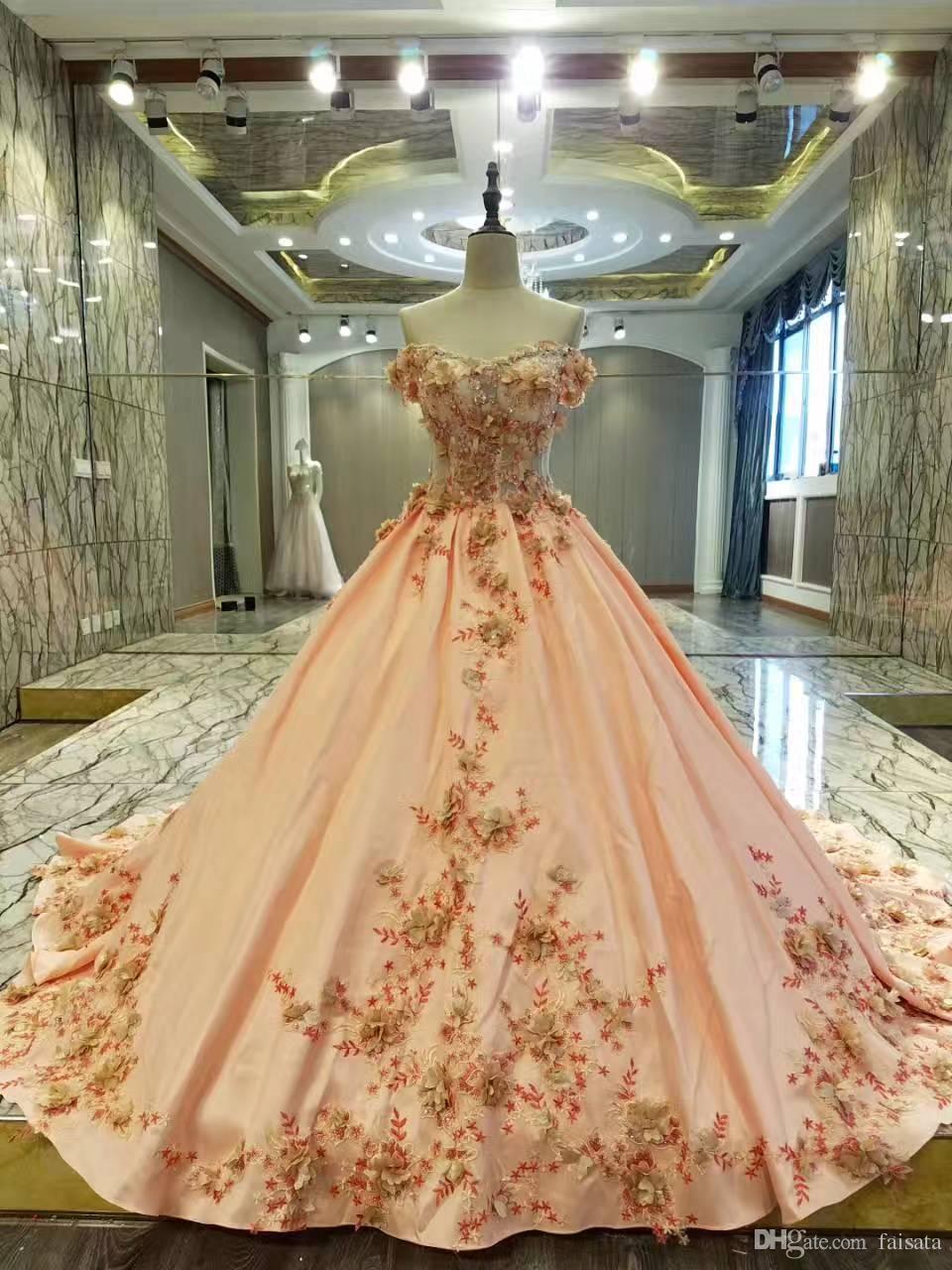 peach color wedding dresses photo - 1