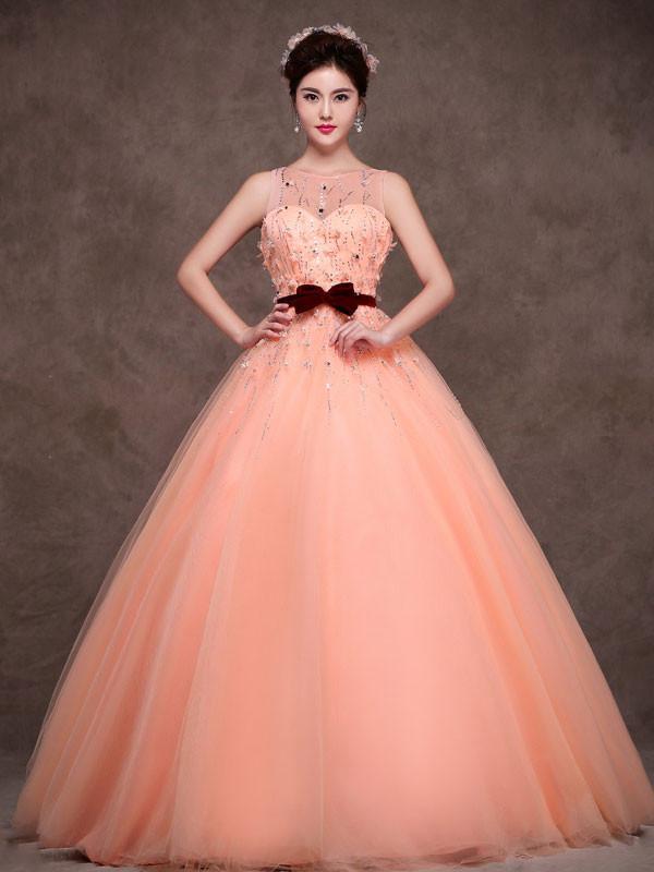 peach colored wedding dresses photo - 1