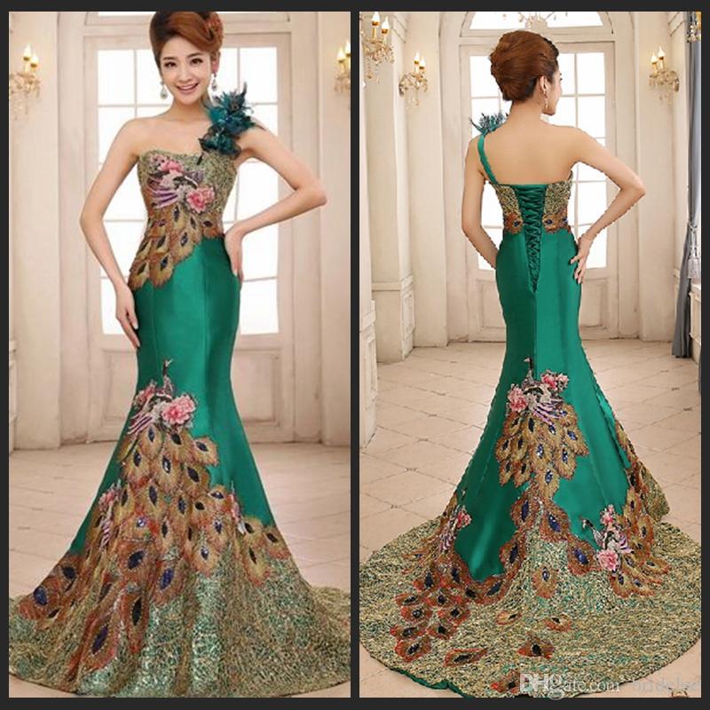 peacock feather wedding dresses photo - 1
