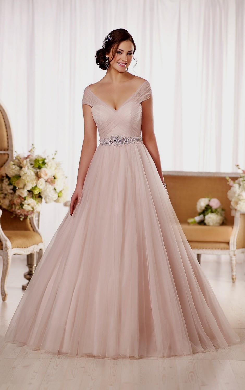pink champagne wedding dresses photo - 1