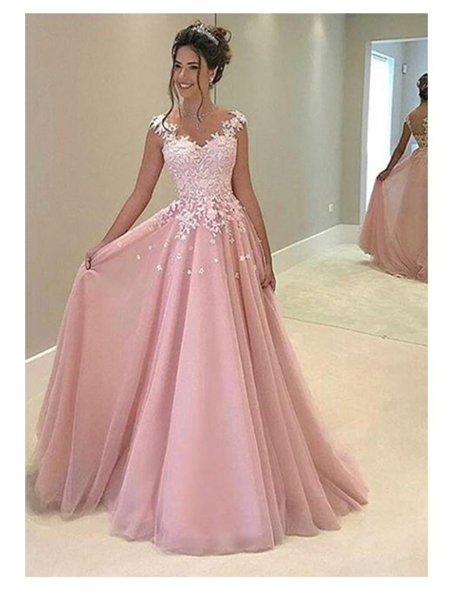 pink long evening dresses photo - 1
