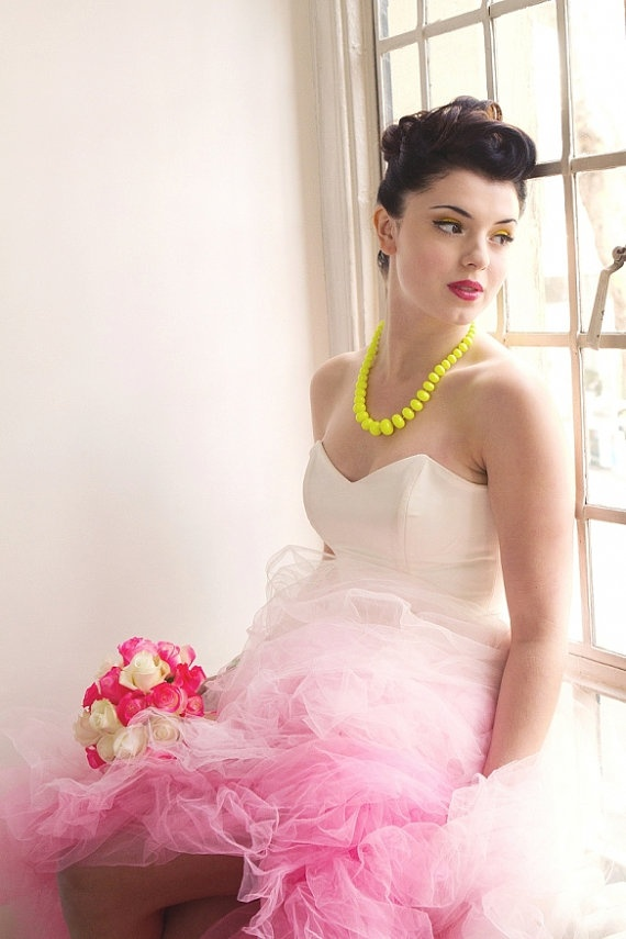pink ombre wedding dresses photo - 1