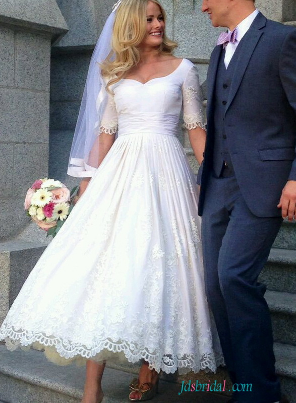 pink tea length wedding dresses photo - 1