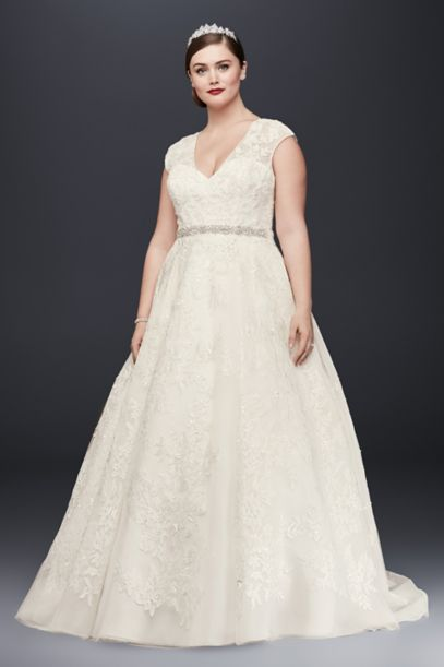 plus size a line wedding dresses with sleeves photo - 1